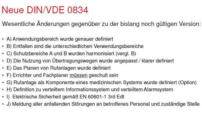 Änderungen der DIN VDE 0834-1:2016-06