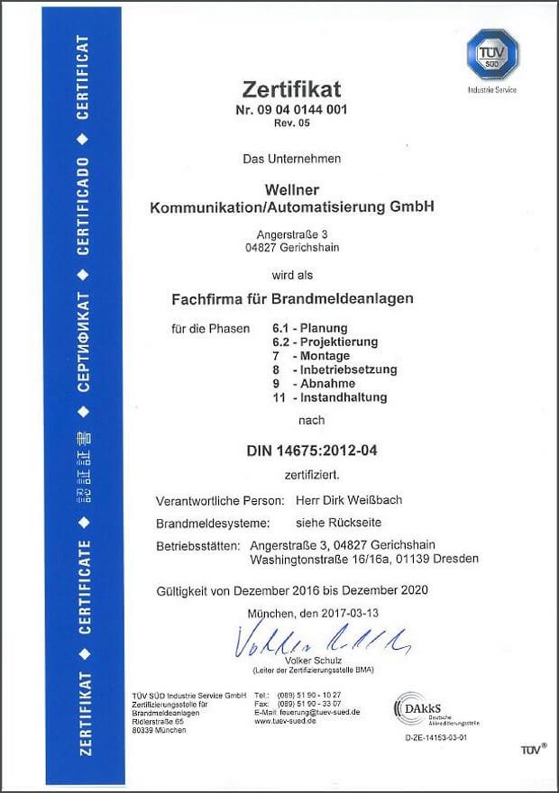 TÜV Zertifikat Brandmeldeanlagen