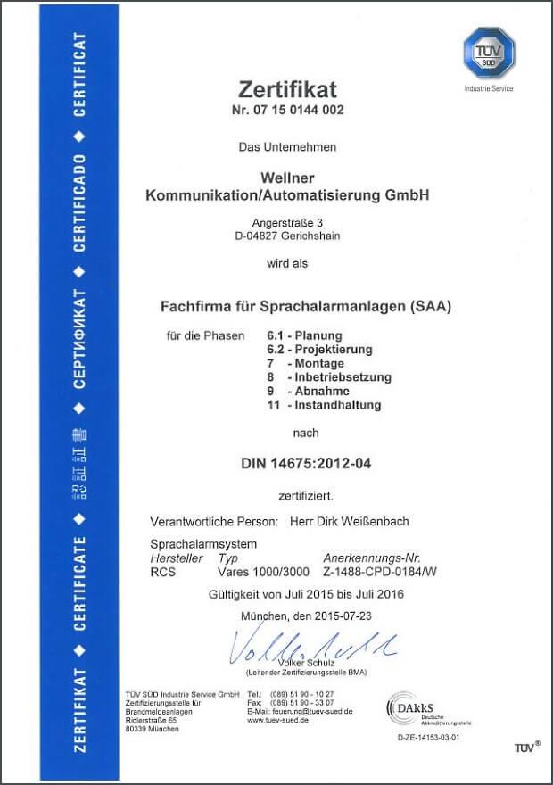 TÜV Zertifikat SAA Sprachalarmierungsanlagen