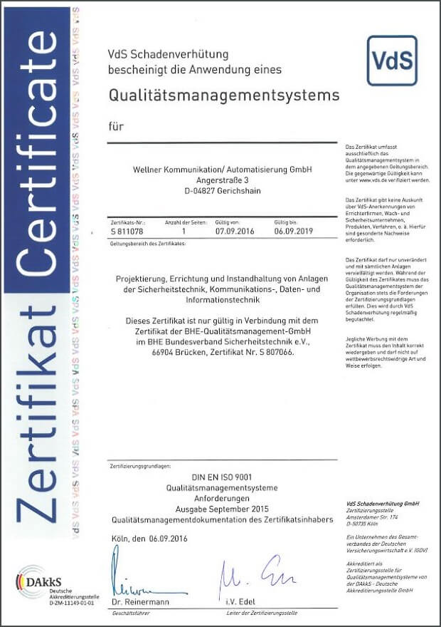 VdS QM Zertifikat ISO 9001